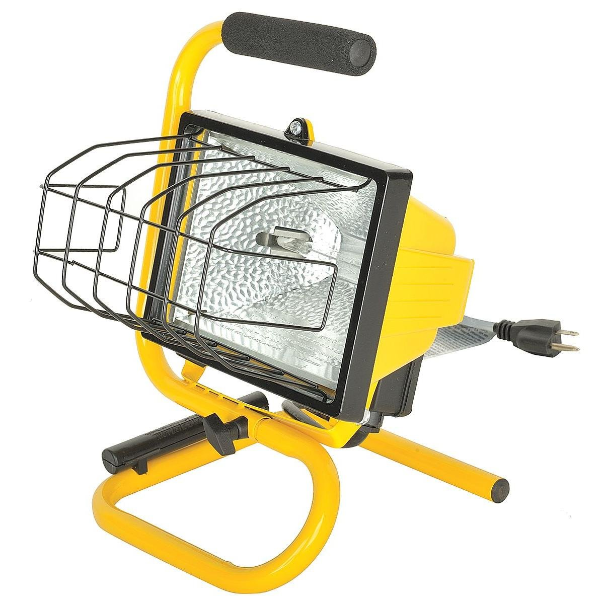 Rocky Mountain Goods Halogen Worklight with Stand / handle - 500-Watt Portable handheld shop light - Adjustable lighting angle - Grip handle - Lens guard - Industrial aluminum housing - 5' power cord