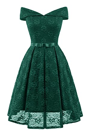 31ef6cdd4a8d02 Misshow Abendkleid Grün Kleid a-Linie Knielang Rockabilly Swing Kleid Prom  Dress- Gr.