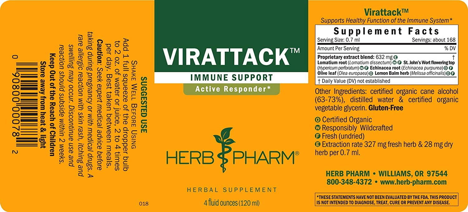 Herb Pharm Virattack Liquid Herbal Formula with Lomatium for Active Immune System Support – 4 Ounce