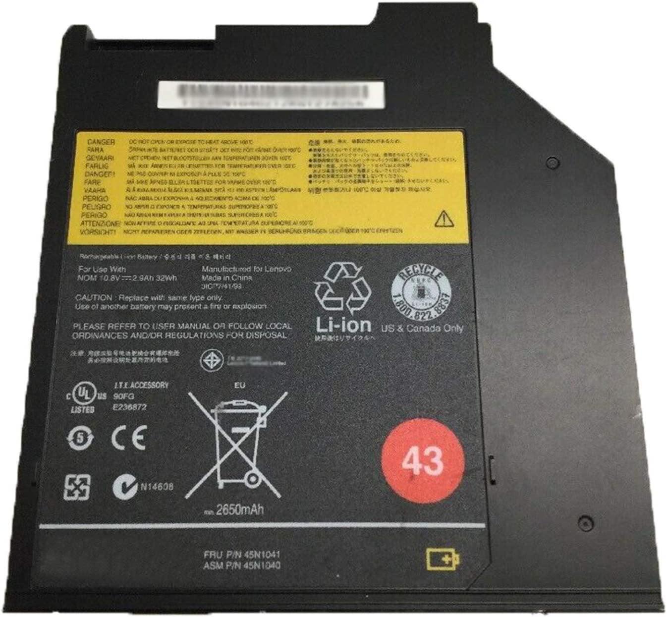 BOWEIRUI 45N1041 (10.8V 32Wh/2650mAh) Laptop Battery Replacement for Lenovo Thinkpad T400S T410S T420S T430S Series Notebook 43 45N1041 0a36310 45N1730