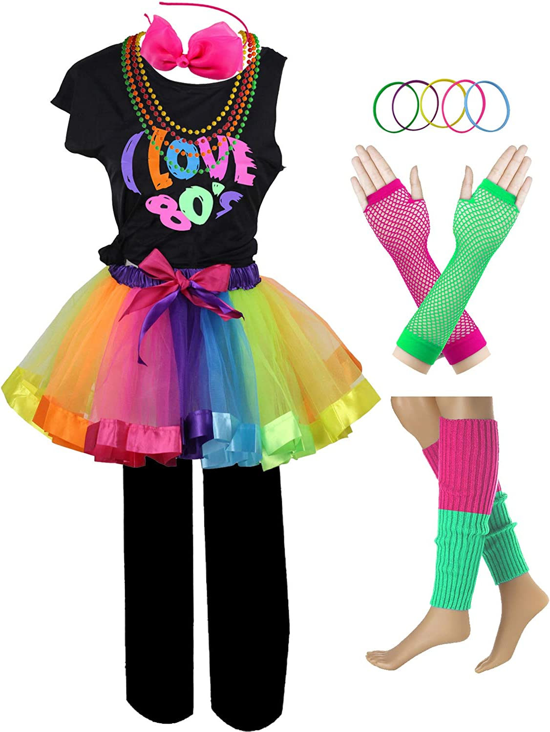 I Love 80s Pop Party Rock Star Child Girls Costume Accessories Fancy Outfits