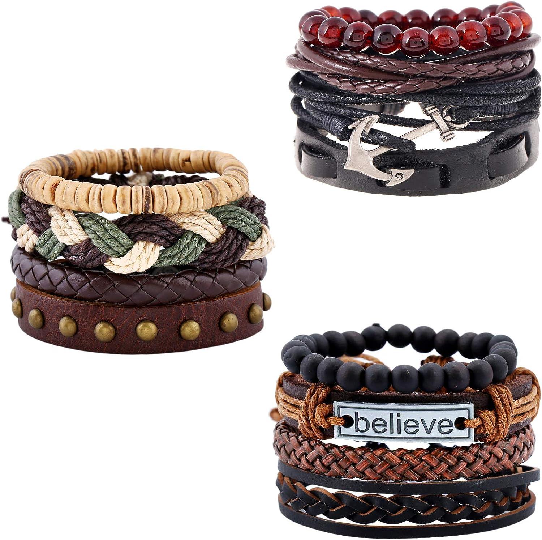 XYIYI 12Pcs Vintage Woven Leather Bracelets Tribal Wooden Beaded Wrist Cuff Bangle Bracelet Set for Men Women