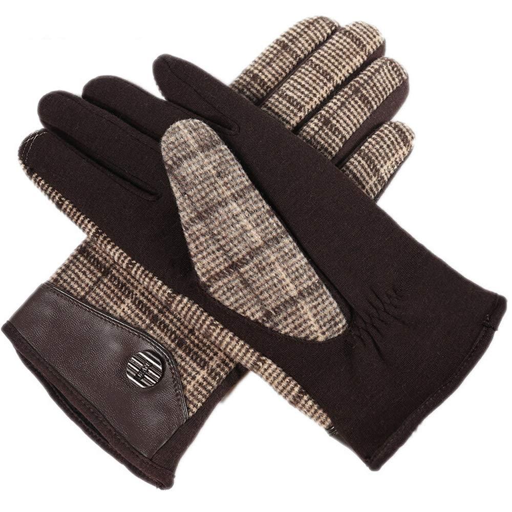 QARYYQ Wollmänner Herbst Und Winter Warm Und SAMT Touch Screen Fingerhandschuhe, Mehrere Farben Handschuh (Farbe   Braun)