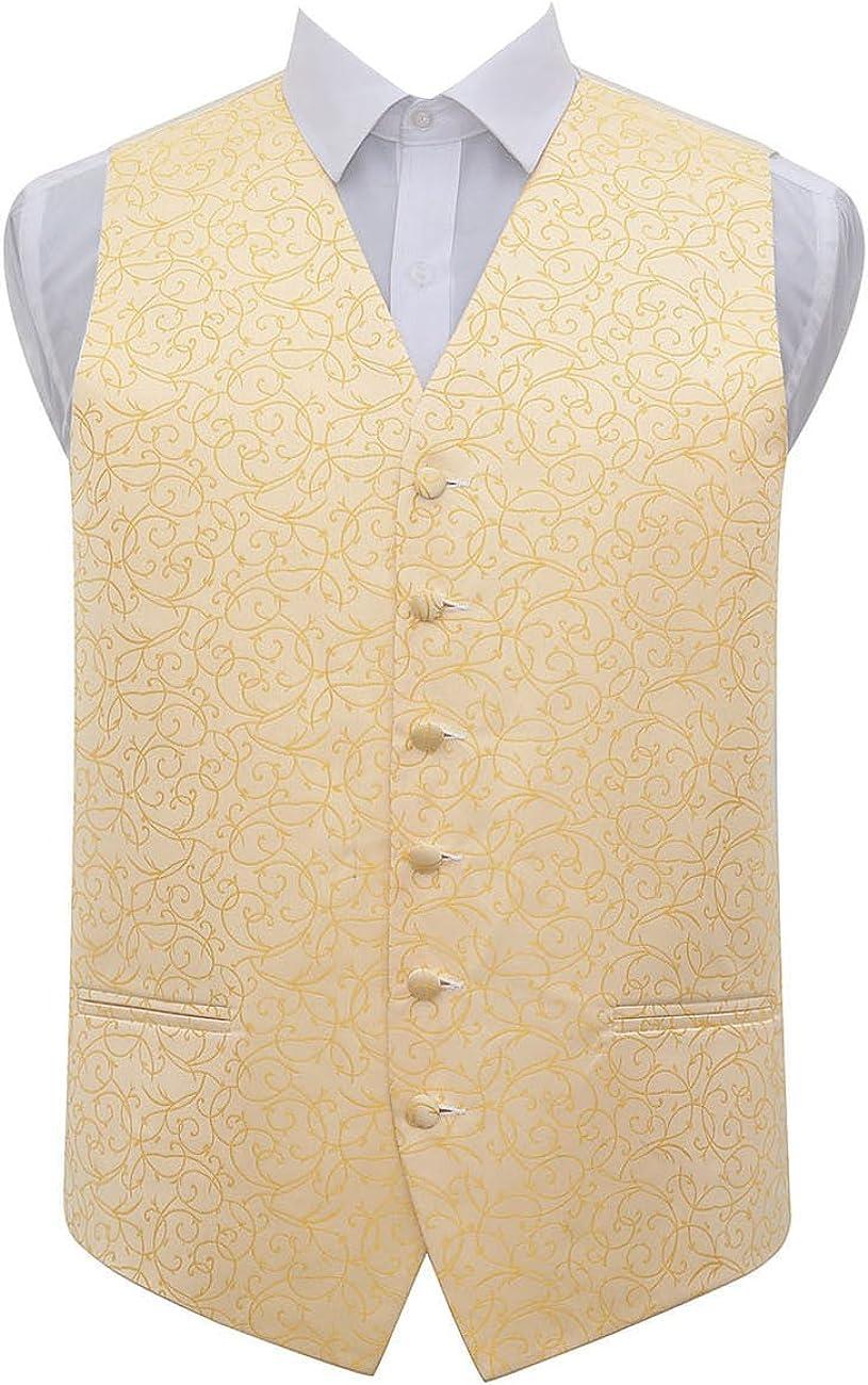 FROM £5 MENS BLACK GOLD DIAMOND WEDDING DRESS WAISTCOAT 34 36 40 42 46 50 52