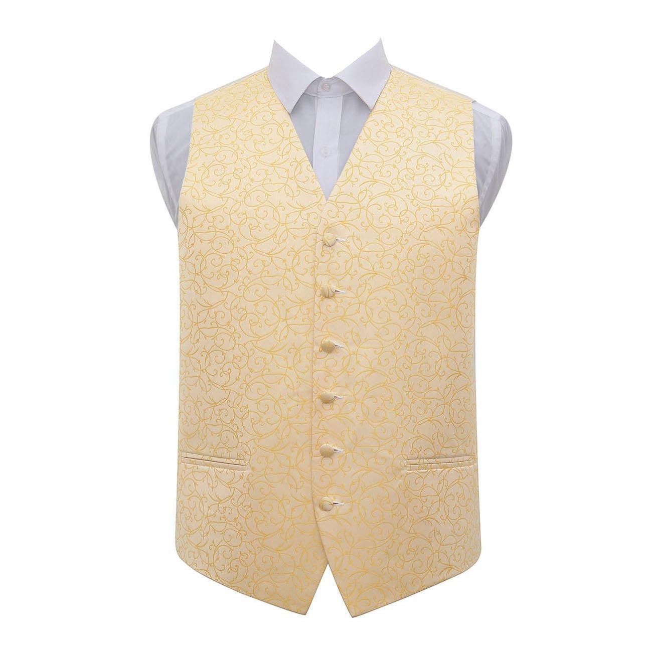DQT Men Swirl Patterned Formal Wedding Tuxedo Waistcoat