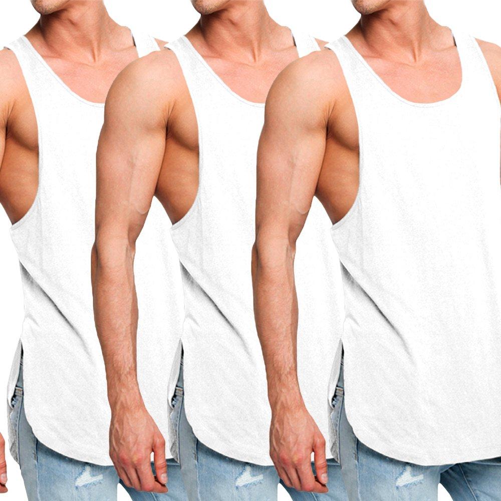 OA ONRUSH AESTHETICS Men's 3 Pack Super Longline Muscle Fit Vests Tank Tops WH+WH+WH XXL