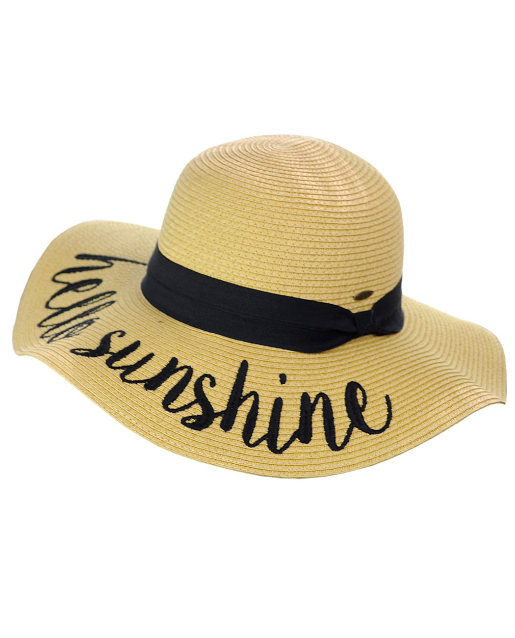 07fcf060f74 C.C Women s Paper Weaved Crushable Beach Embroidered Quote Floppy Brim Sun  Hat