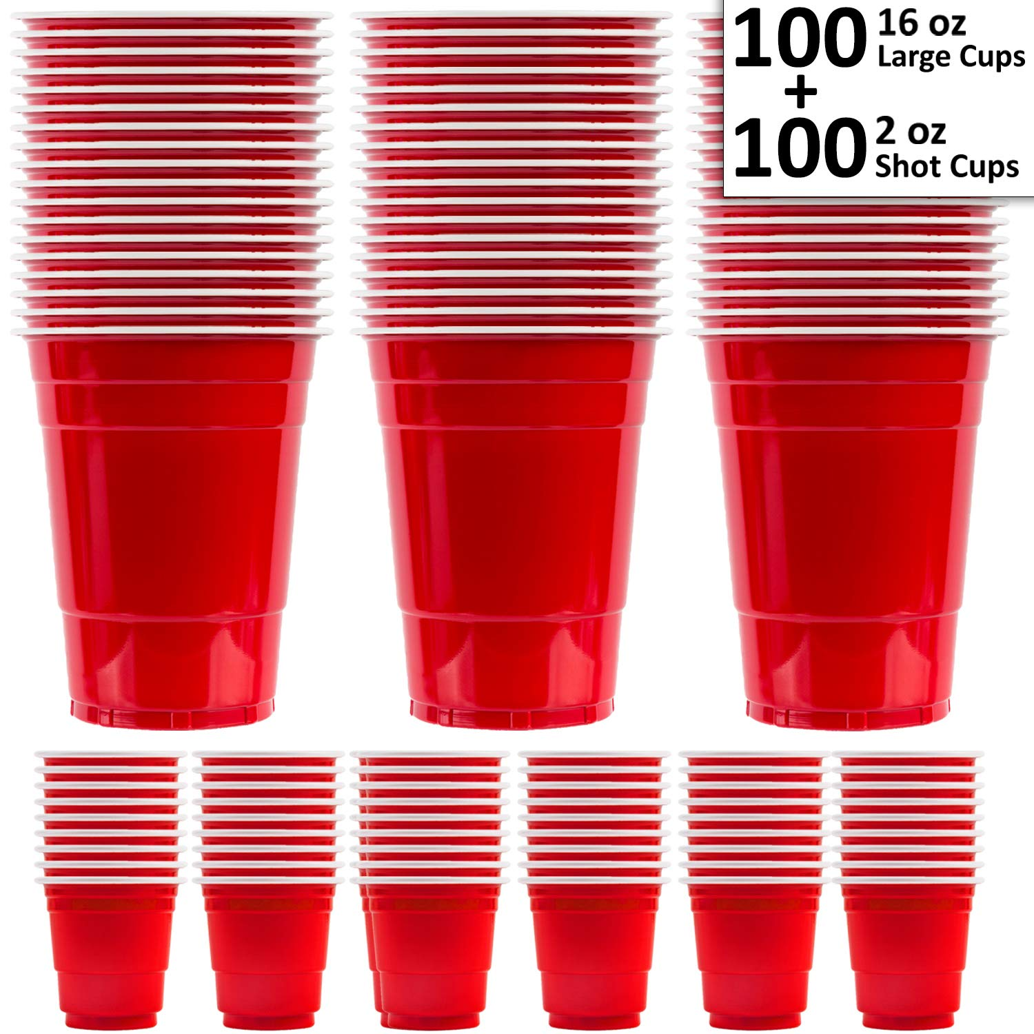 Large Red Cups (16 oz) + Mini Plastic Shot Glasses (2 oz) - 200 total (100 each) - Great for parties, Beer Pong, Jello, Bomb Shots by HeroFiber