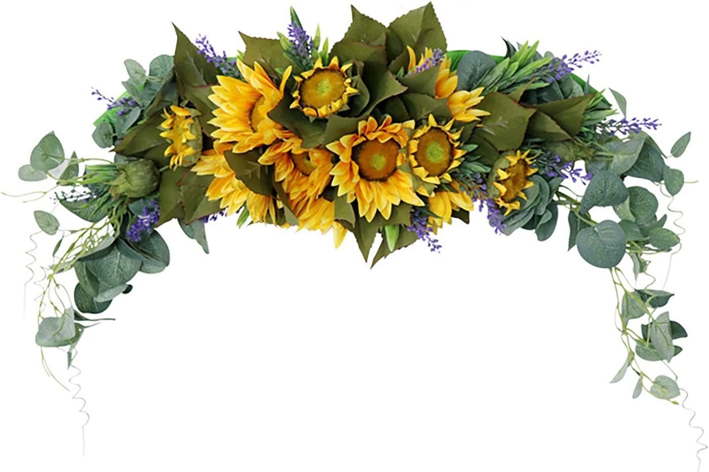 GREENWISH 30 Inch Artificial Sunflower Swag with Eucalyptus Leaves & Lavender, Decorative Sunflower Wreath Handmade Floral Swag for Wedding Arch Front Door Wall Decor