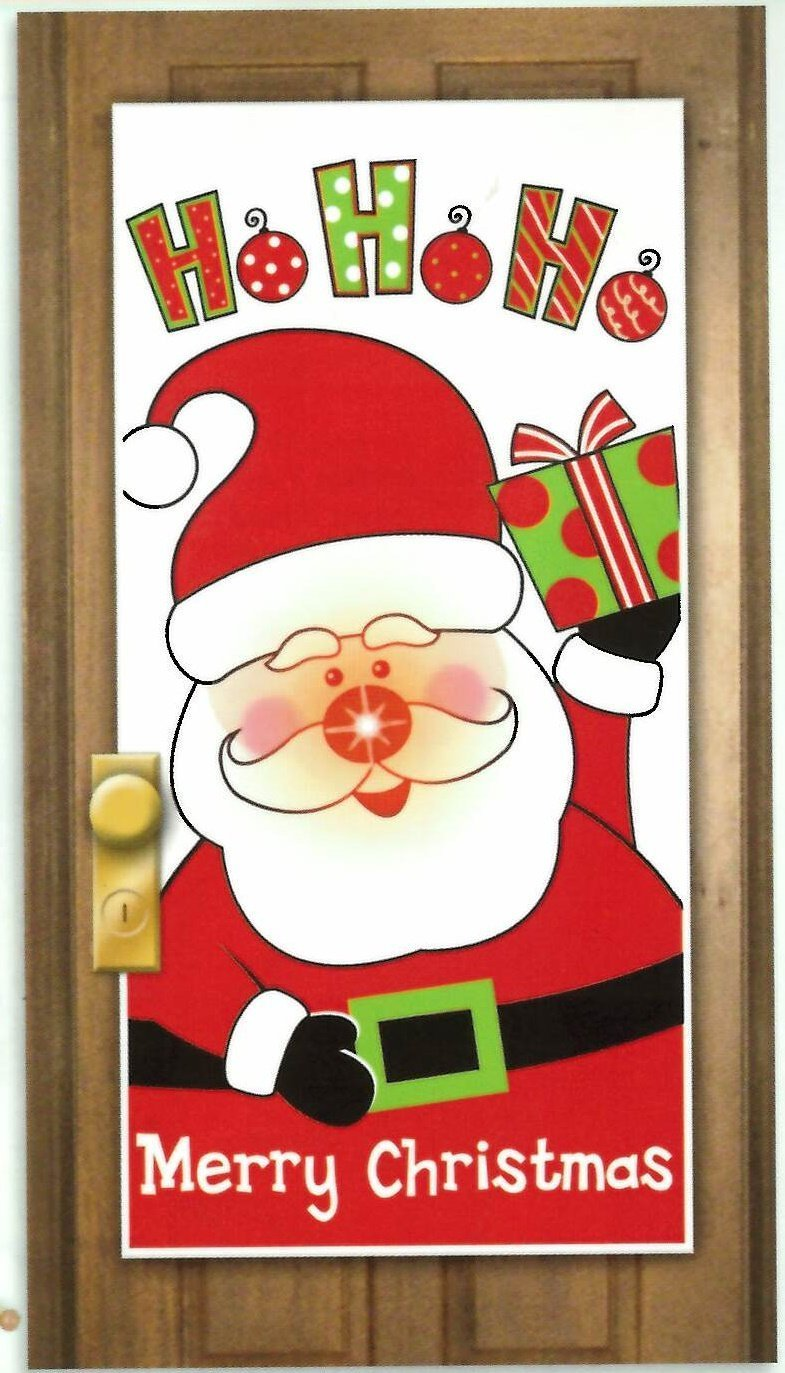 Santa Light-Up Door Cover Liven up your door and give your door some attention with this light-up door cover. Each set contains one door cover that leaves ...  sc 1 st  Christmas Wikii & Santa Claus Door Covers