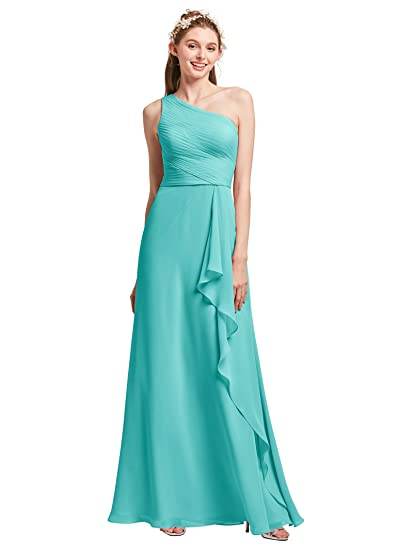 Alicepub One Shoulder Bridesmaid Dresses for Women Long Chiffon Evening Party Prom Gowns Sleeveless, Aqua