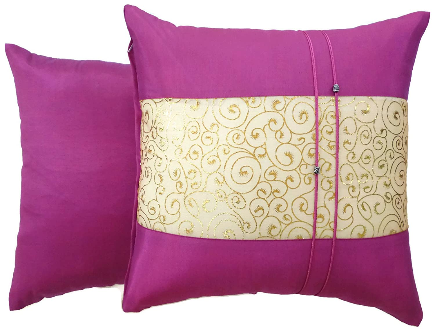 Moose546 Set of Two 16x16 Fuchsia Pink Silk Throw Cushion Cover Pillow Case Gold Print Middle Stripe for Decorative Living Room Bed room Sofa Car