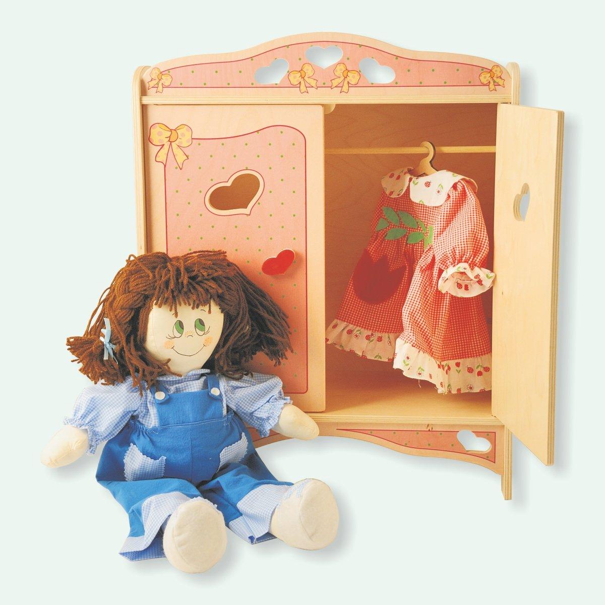 Dida - Puppenschrank aus Holz mit Garderobenstange für Puppen bis 50 ...