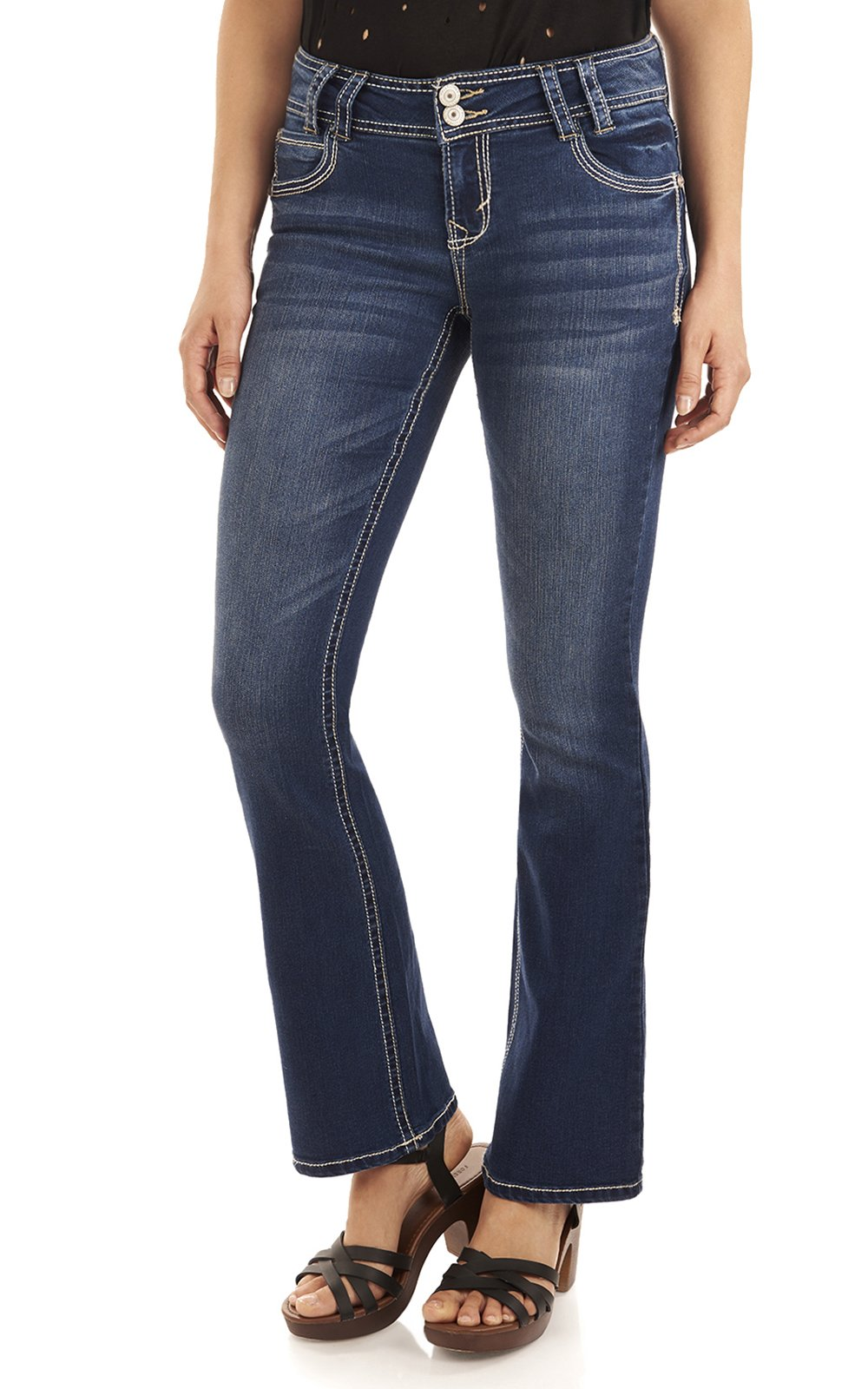 WallFlower Juniors InstaStretch Luscious Curvy Bootcut Jeans in Chrystie Size:9