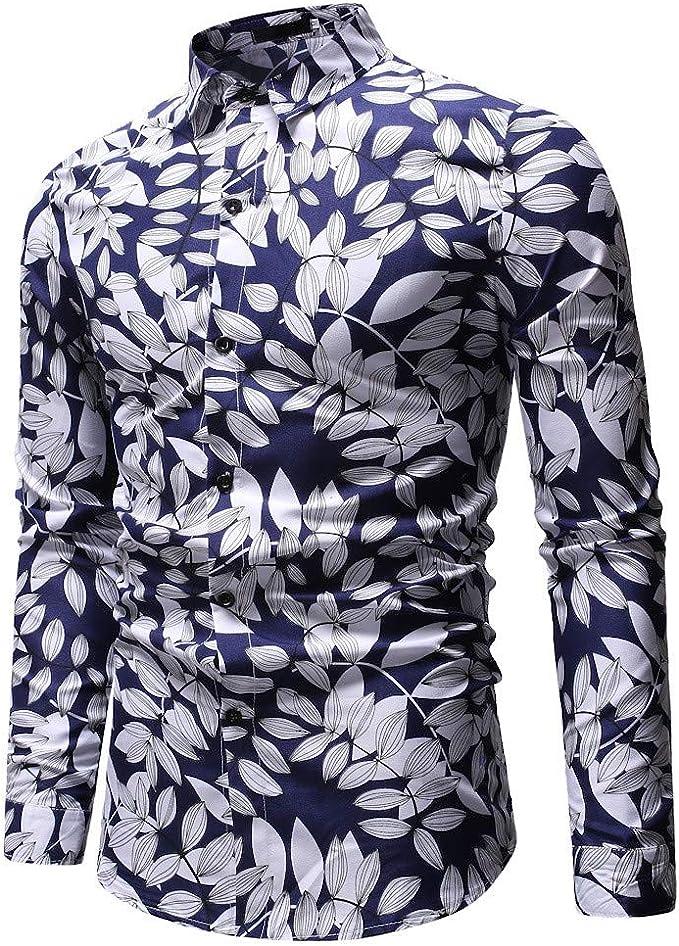 SoonerQuicker Camisas Hombre Manga Camisa de Manga Larga de la impresión de Solapa patrón de los Hombres - 2019 última Camisa Casual cómoda: Amazon.es: Ropa y accesorios