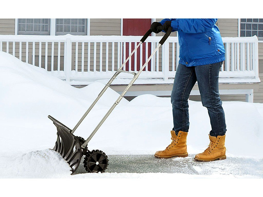 UH-SP217 Rolling Snow Pusher Shovel with Wheels and Adjustable Length W/ 26' Blade