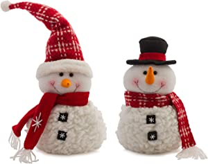 Melrose International Snowman Winter White 19 inch Fabric Christmas Holiday Figurines Set of 2