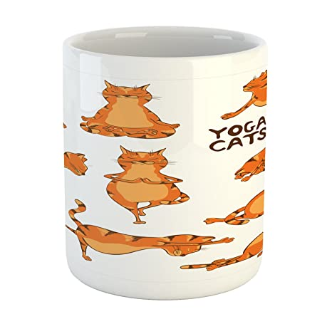 Amazon.com: Cat Taza por lunarable, posición Gatos haciendo ...