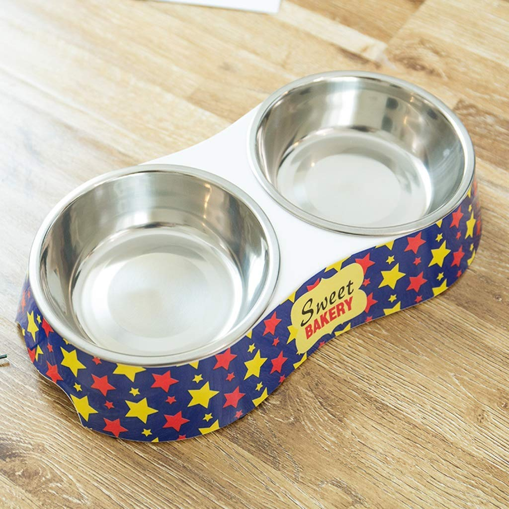 HVTKL Dog Food Bowl Stainless Steel Non-Slip Double Bowl Cat Bowl bluee Stars Pet Supplies (Size   S)