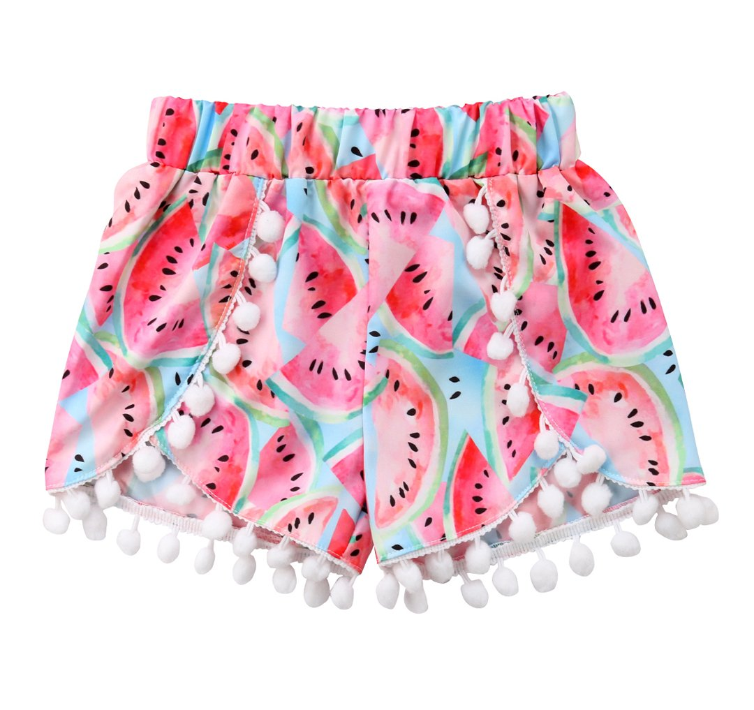 Newborn Baby Girls Watermelon Shorts Pompom Elastic Waist Fruit Bottoms