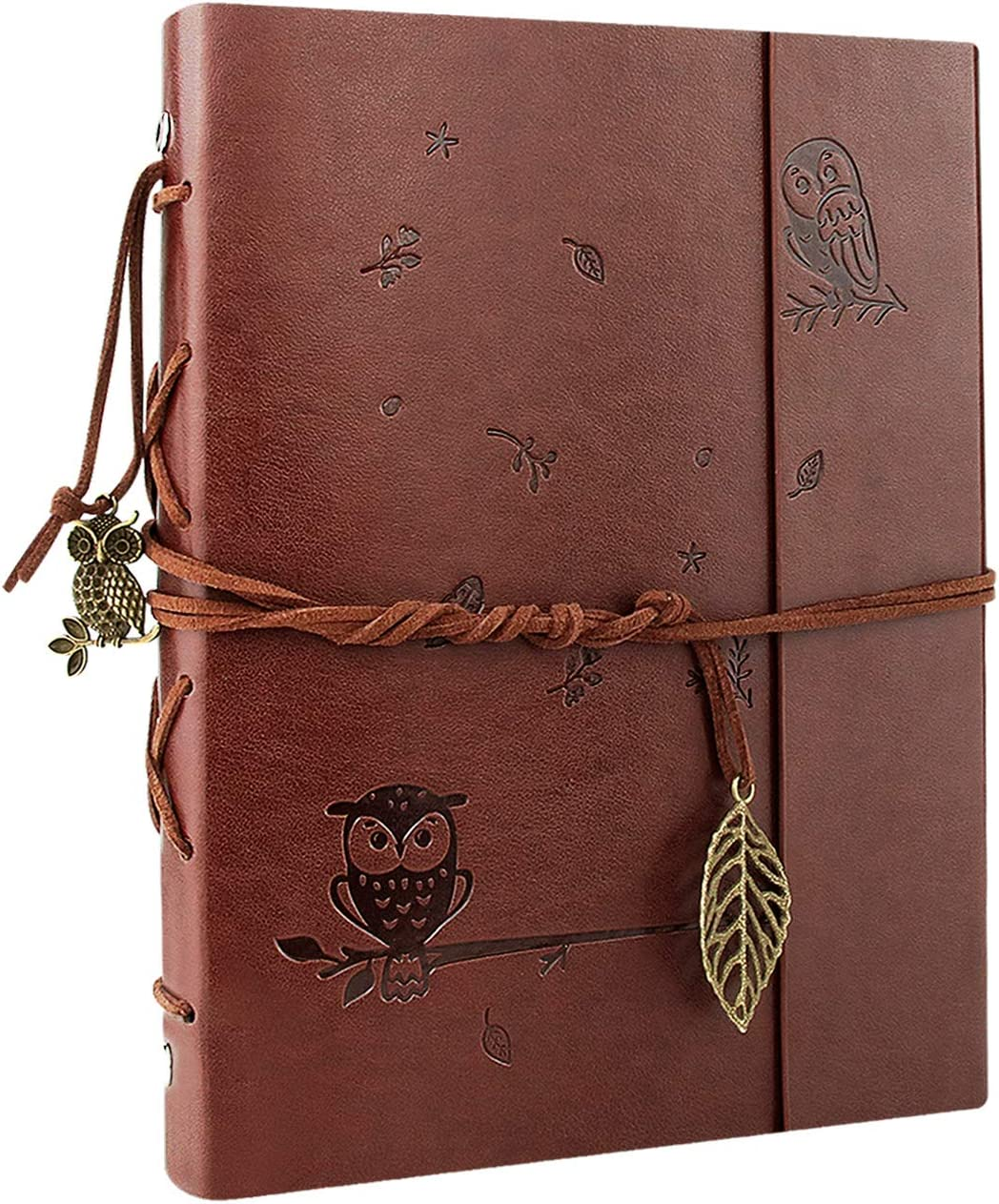 VEESUN Cuaderno de Cuero A5, Retro Libreta Bonitas de Viaje, Cuaderno Vintage Agenda, Recargable Bloc de Libros en Blanco Diary Regalo, Diario de La Regalo Para Hombres Mujeres Estudiantes, Búho