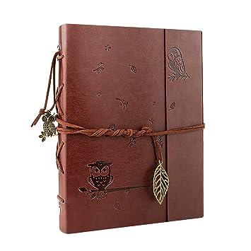 VEESUN Cuaderno de Cuero A5, Retro Libreta Bonitas de Viaje, Cuaderno Vintage Agenda, Recargable Bloc de Libros en Blanco Diary Regalo, Diario de La ...
