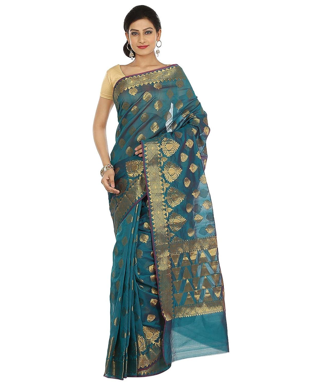 Indian Ethnic Art Banarasi Silk Teal Blue Banarasi saree