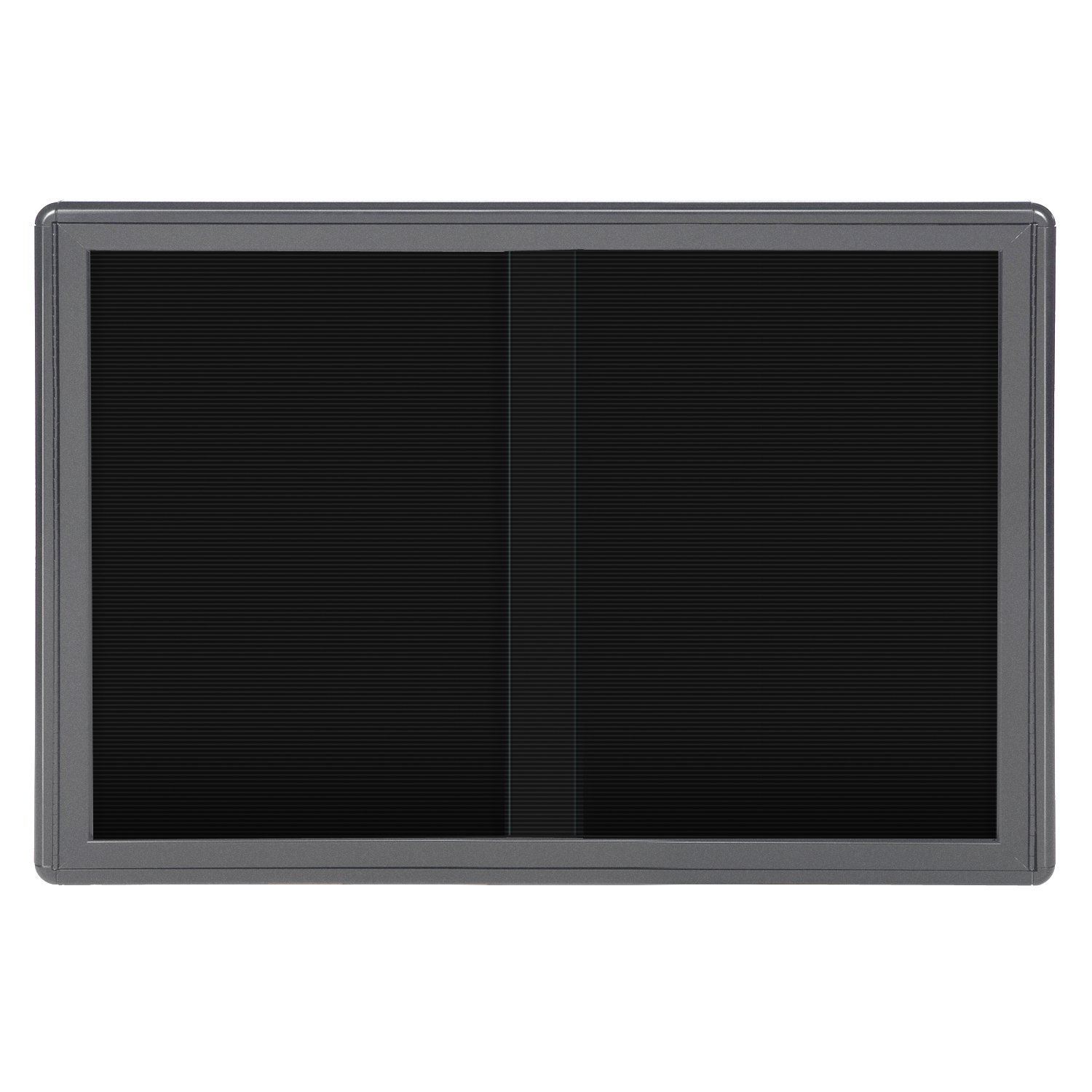 34''x47'' 2-Sliding Doors Ovation Letter Board, Black Fabric, Gray Frame