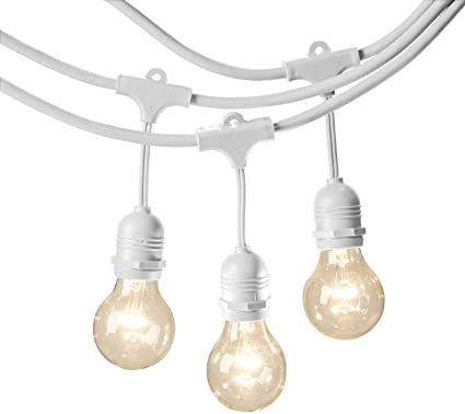 quality design aaacb f8b08 AmazonBasics Weatherproof Outdoor Patio String Lights G60 Bulb, White,  48-Foot