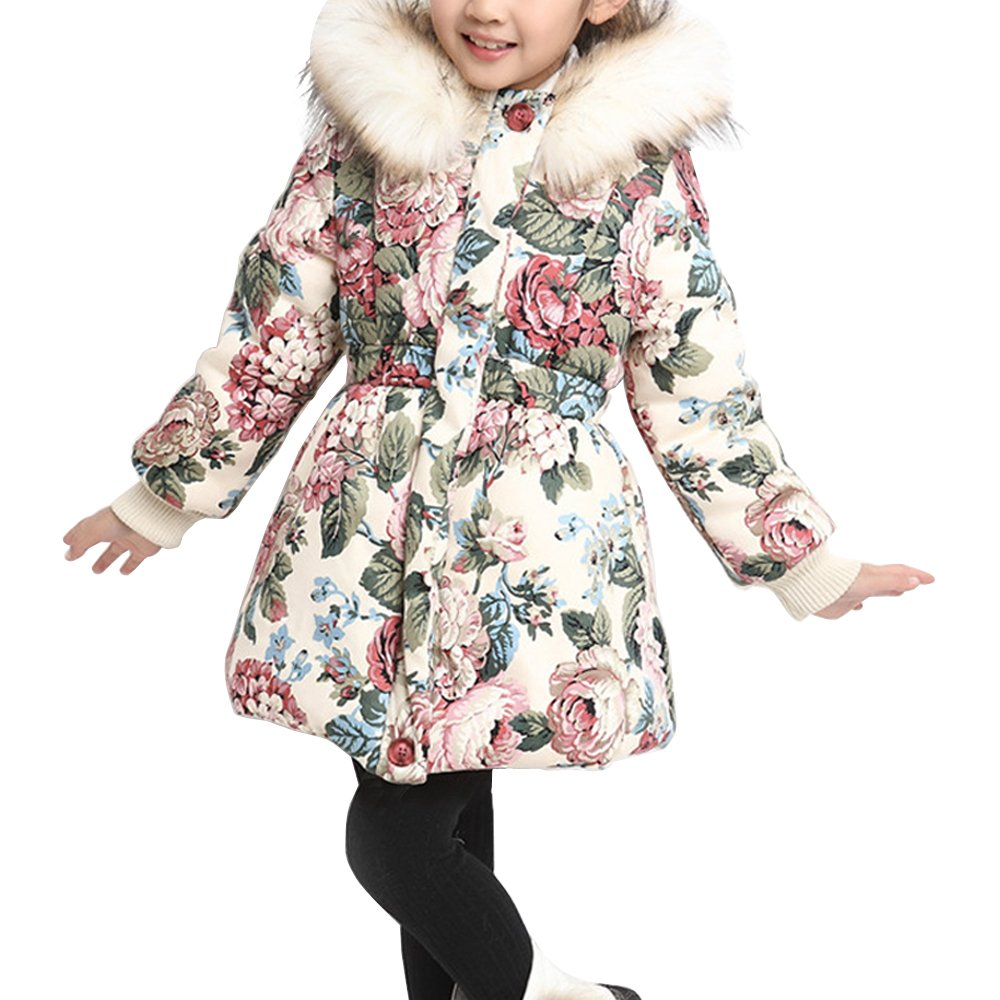 OCHENTA Girls' Floral Thick Quilted Padded Winter Coat with Faux Fur Trim Hood