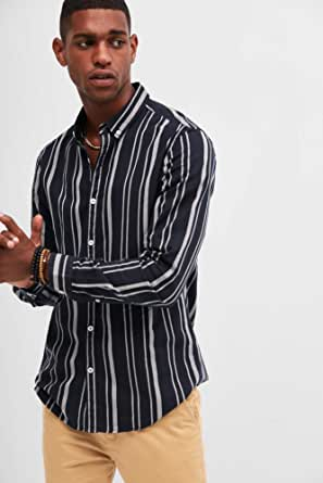 BlueAge Shirt for Men, Size, Black and white stripped