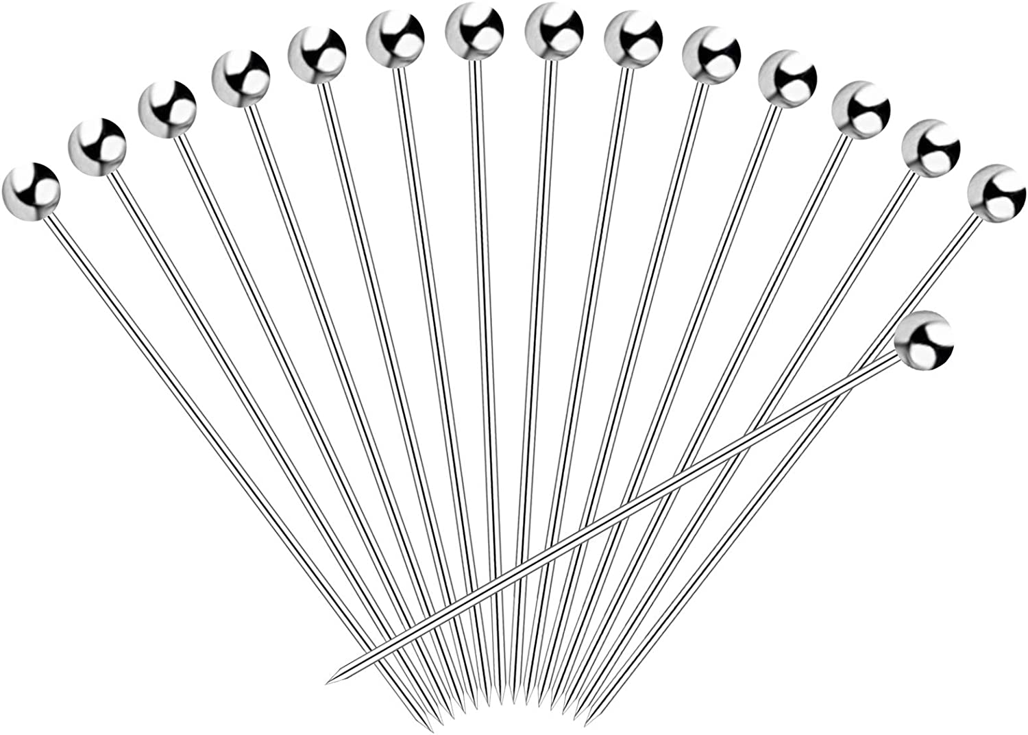 HEQUSigns 30PCS Stainless Steel Cocktail Picks,Reusable Metal Martini Picks Olives Appetizers Sandwich Cocktail Toothpicks for Wedding 4.3 Inches