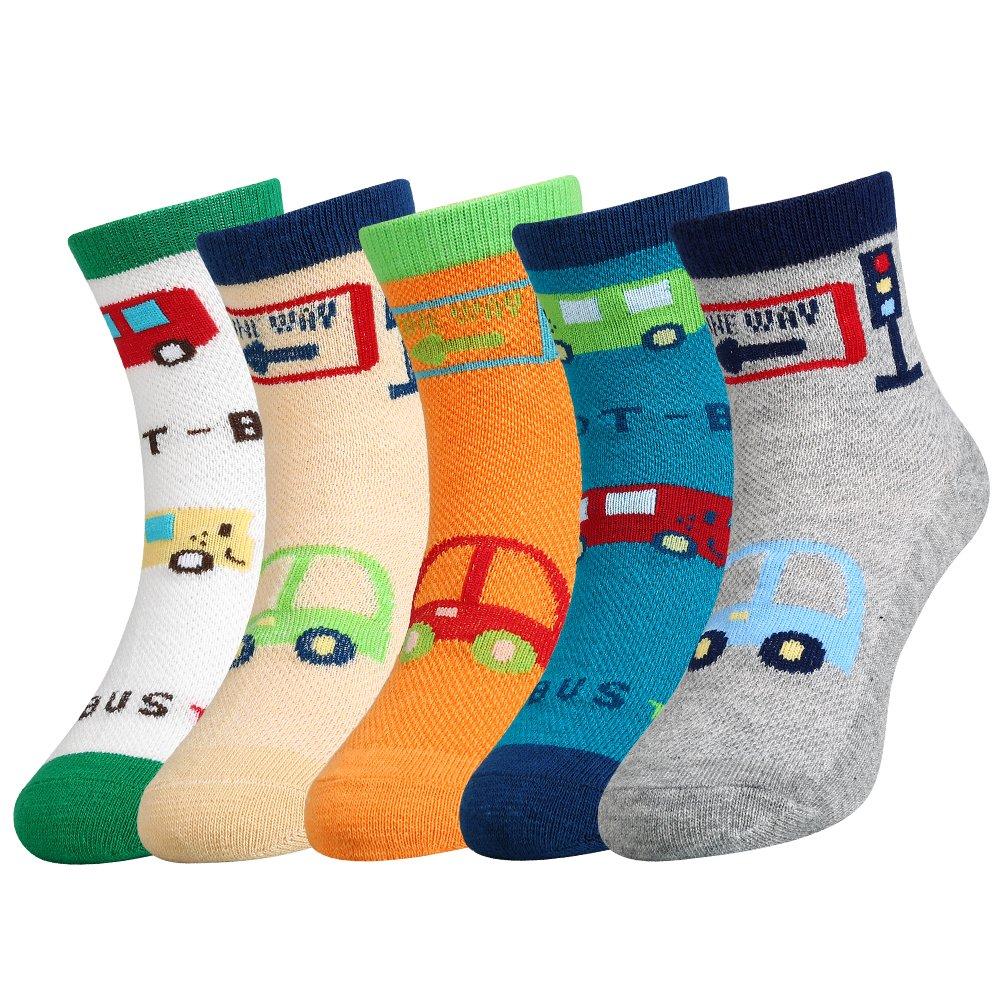 Vbiger Kids Boys Fun Cotton Crew Socks 6 Pair Pack