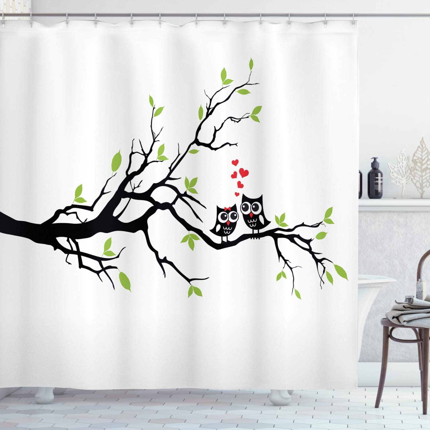Ambesonne Owls Home Decor Collection, Owls in Love Sitting on a Branch Leaf Hearts Romance Design, Polyester Fabric Bathroom Shower Curtain Set, 75 Inches Long, Black Red Green White
