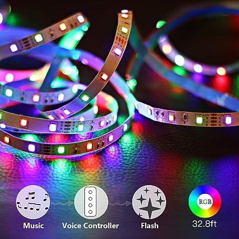 Amazoncom Tenmiro Led Strip Lights 328ft Trichromatic Rgb Sync