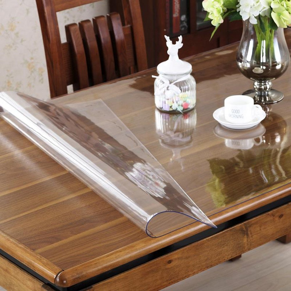 OstepDecor Custom 2mm Thick Crystal Clear Dining Room Table Cover Wood Furniture Protector Plastic Tablecloth Multi-Size | Rectangular 42 x 60 Inches