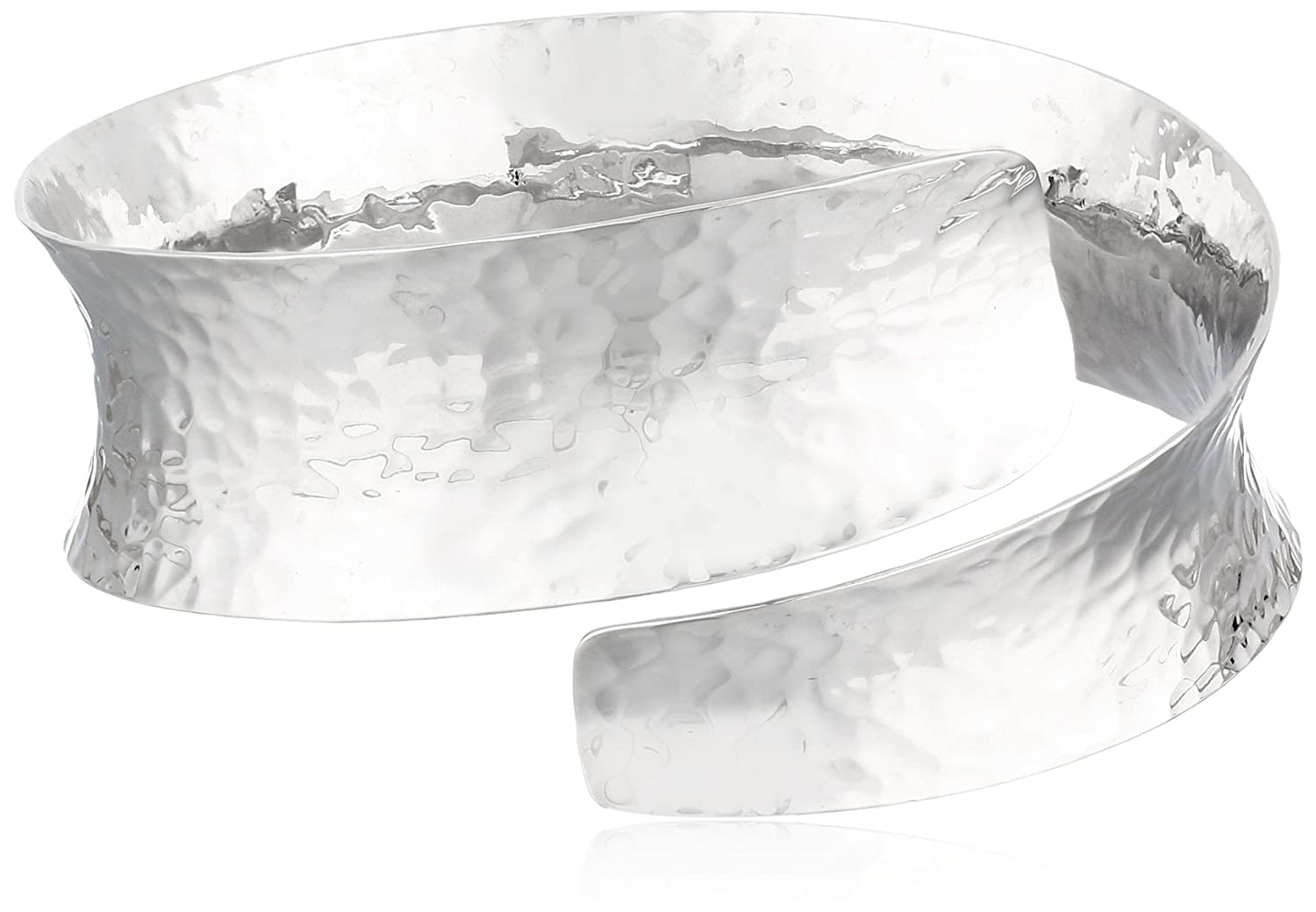 """Sterling Silver Hammered Bypass Cuff Bracelet, 7"""""""