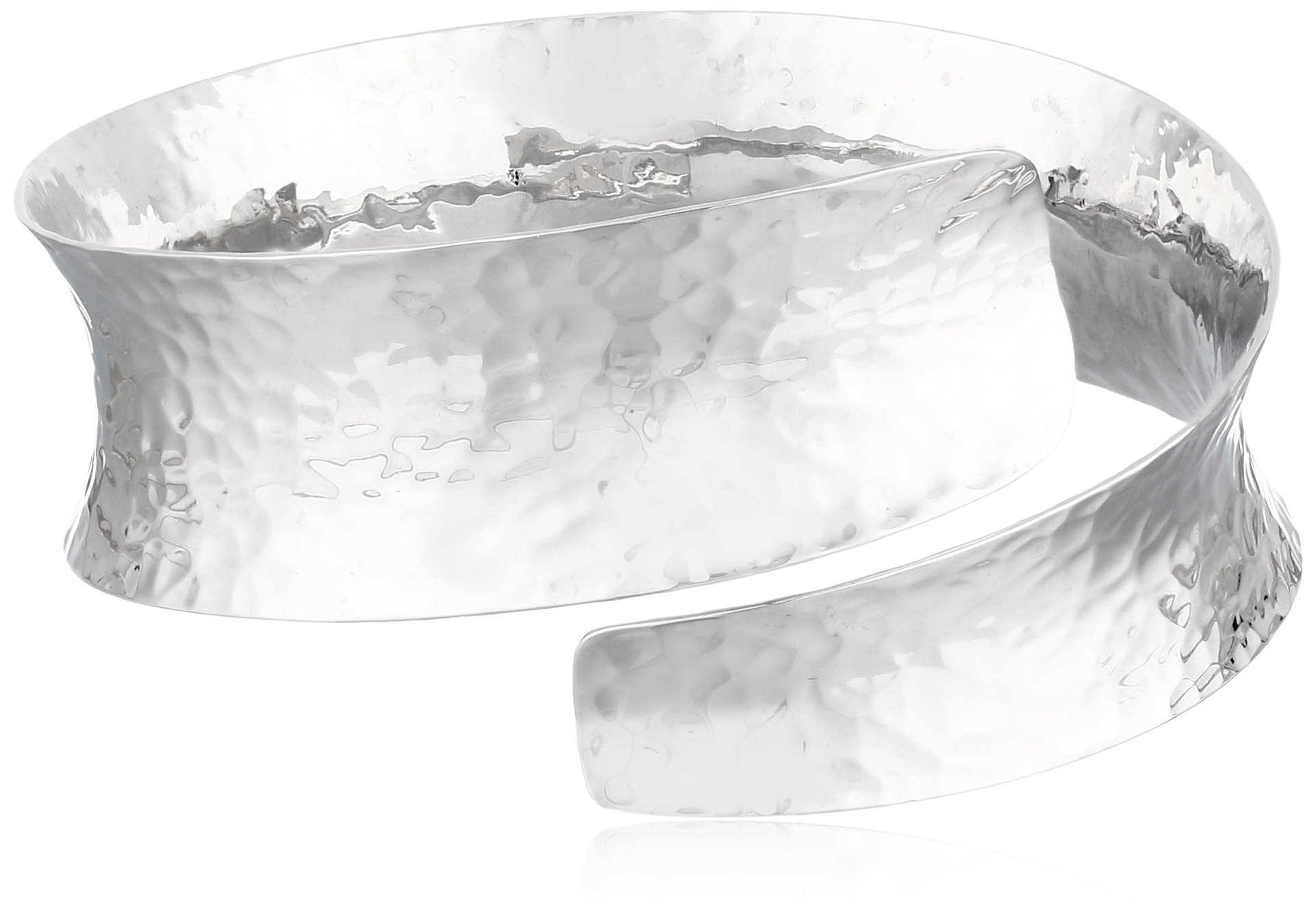 Sterling Silver Hammered Bypass Cuff Bracelet, 7''