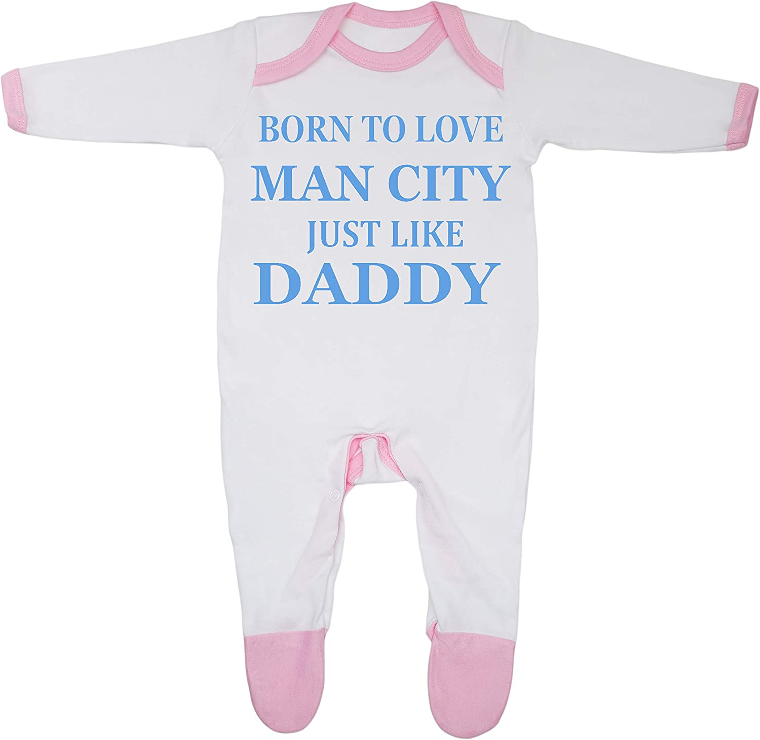 Born to Love Man City Just Like Daddy Baby Boy Girl Sleepsuit Made in the UK Using 100/% Fine Combed Cotton