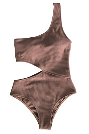 e2cf04f584 CUPSHE Women s Candy Rain One Shoulder One-Piece Swimsuit Bathing Suit  (Small (USA