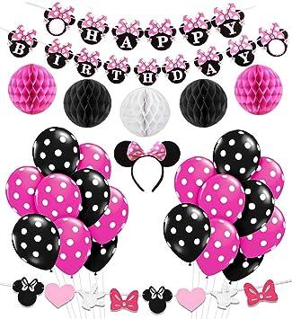 KREATWOW Decoración de la Fiesta de cumpleaños de Minnie Mouse Girls, Diadema de Minnie Mouse, Banner de cumpleaños Feliz, Globos Rojos de la Rosa ...