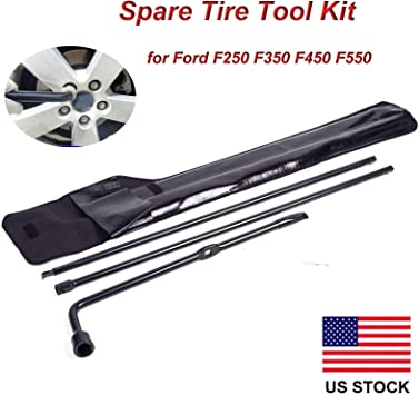 Spare Tire Tool Lug Wrench for Ford F250 F350 F450 F550 Super Duty Iron Replacement Kit with Carry Bag 1 Year Warranty