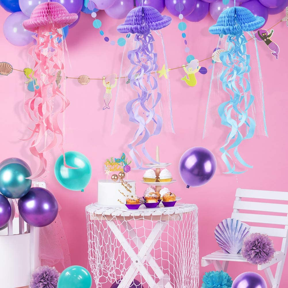 Pastel Decor Hanging Jellyfish DIY Craft Party Decoration Honeycomb Hanging