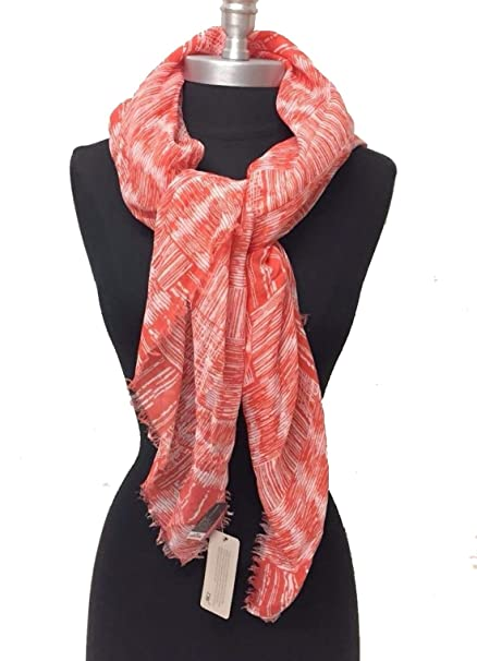 Two-tone graphic Print Square with frayed edges Chiffon Scarf Beach Cover Soft