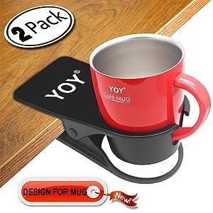 YOY 2 Pack Drink Cup Holder Clip - Table Desk Side Water Glass Beer Bottle Beverage Soda Coffee Mug Holder Cup Saucer Clip Design for Home Office, Black