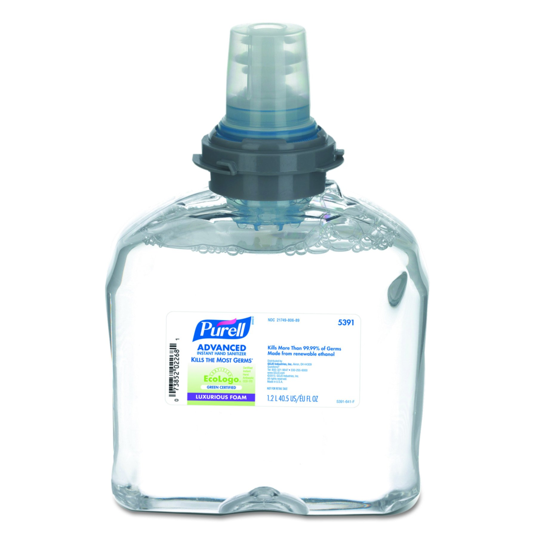 PURELL 539102CT TFX Green Certified Instant Hand Sanitizer Foam Refill, 1200mL, Clear (Pack of 2)