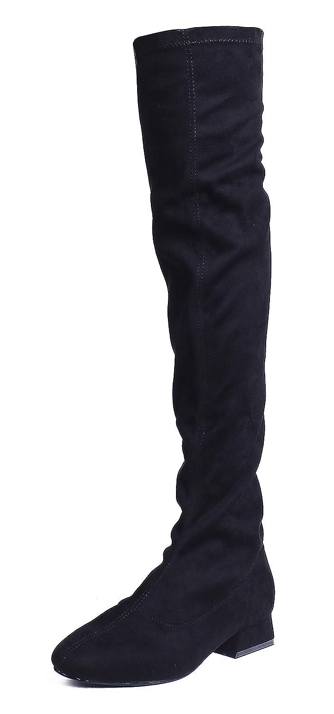AgeeMi Shoes Damen Niedrigen Absätzen Blockabsatz Comfort Over Knee Stiefel  40 EU|Schwarz