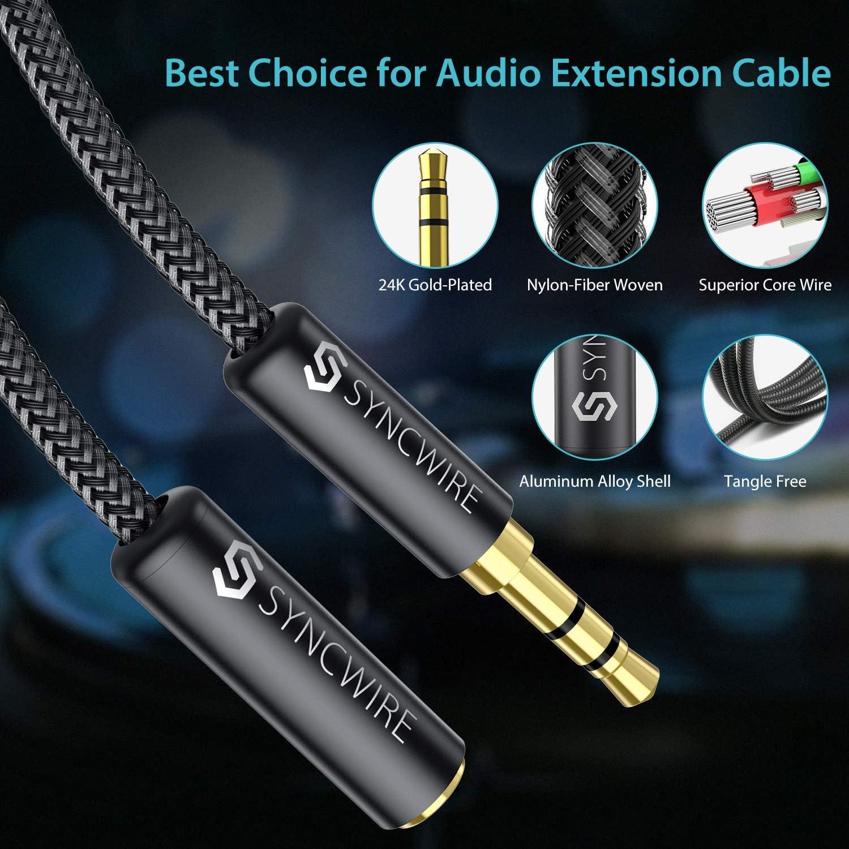Cable Alargador para Auriculares TV PC Altavoz iPhone iPad Coche MP3 Syncwire Cable Alargador Jack 3.5mm Macho a Hembra 1M Audio Cable Extensi/ón Auriculares,Cable de Audio Alargador Minijack