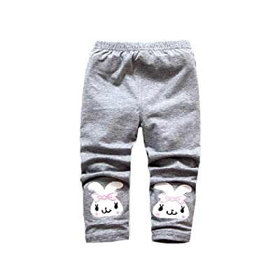Abetteric Baby Toddler Girls' Rabbit Solid Color Cotton Pants Leggings