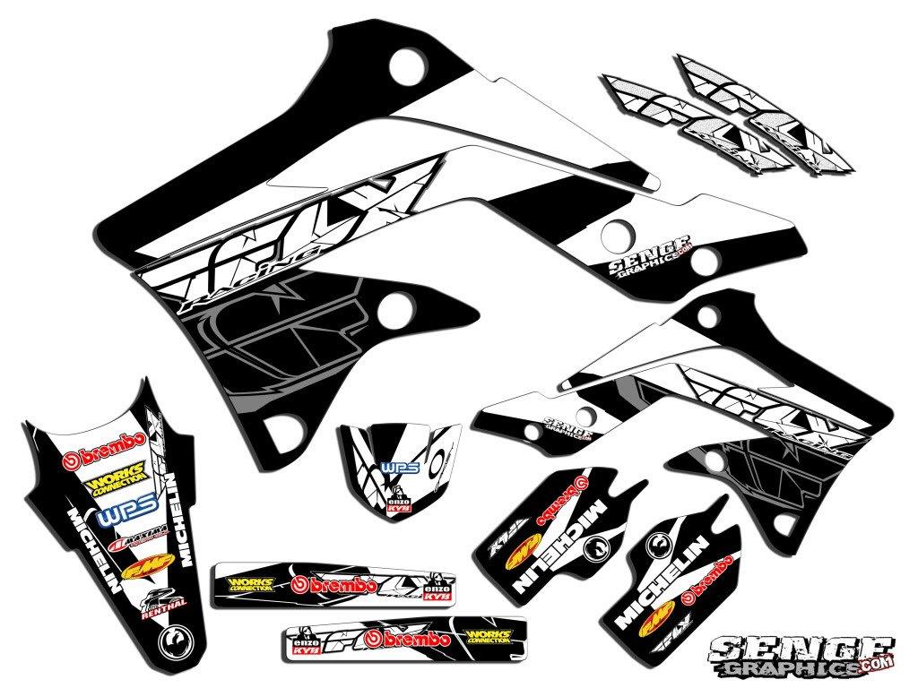 センジグラフィック2008 – 2017 Kawasaki KLX 140、Fly Racingブラックグラフィックキット   B01N4UELKX